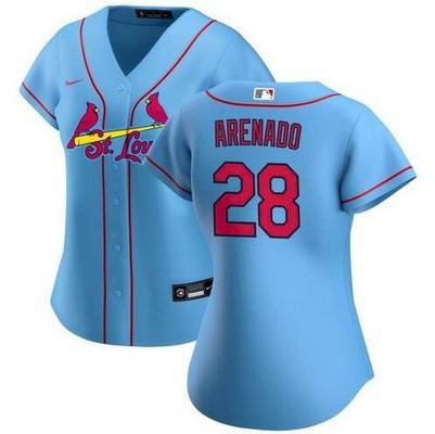 Women's St Louis Cardinals #28 Nolan Arenado Light Blue Cool Base Jersey