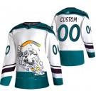 Men's Anaheim Ducks Customized White 2021 Reverse Retro Special Authentic Jersey