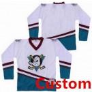 Men's Anaheim Ducks Customized White Green Throwback Jersey