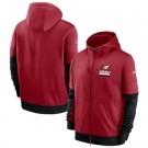 Men's Arizona Cardinals Red Sideline Impact Lockup Performance Full Zip Pullover Hoodie