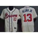 Men's Atlanta Braves #13 Ronald Acuna Jr Cream FlexBase Jersey