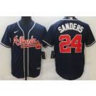 Men's Atlanta Braves #24 Deion Sanders Navy Cool Base Jersey