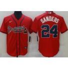 Men's Atlanta Braves #24 Deion Sanders Red Cool Base Jersey