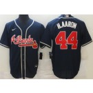 Men's Atlanta Braves #44 Hank Aaron Navy Cool Base Jersey