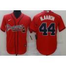 Men's Atlanta Braves #44 Hank Aaron Red Cool Base Jersey