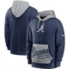 Men's Atlanta Braves Navy Heritage Tri Blend Pullover Hoodie