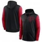 Men's Atlanta Falcons Black Red Fan Gear Mascot Performance Full Zip Hoodie