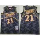 Men's Atlanta Hawks #21 Dominique Wilkins Black Gold 1986 Hollywood Classic Swingman Jersey