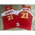 Men's Atlanta Hawks #21 Dominique Wilkins Red 1986 Throwback Authentic Jersey