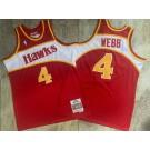 Men's Atlanta Hawks #4 Spud Webb Red 1986 Throwback Authentic Jersey