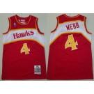 Men's Atlanta Hawks #4 Spud Webb Red 1986 Throwback Swingman Jersey