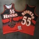 Men's Atlanta Hawks #55 Dikembe Mutombo Navy Blue Red Throwback Printing Jersey