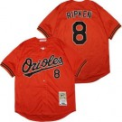 Men's Baltimore Orioles #8 Cal Ripken Orange 1989 Throwback Jersey