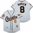 Men's Baltimore Orioles #8 Cal Ripken White 2001 Throwback Jersey