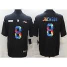 Men's Baltimore Ravens #8 Lamar Jackson Limited Black Crucial Catch Vapor Untouchable Jersey