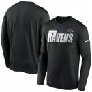 Men's Baltimore Ravens Black Sideline Impact Legend Performance Long Sleeves T Shirt 607