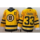 Men's Boston Bruins #33 Zdeno Chara Gold 2021 Reverse Retro Authentic Jersey