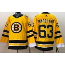 Men's Boston Bruins #63 Brad Marchand Gold 2021 Reverse Retro Authentic Jersey