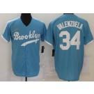 Men's Brooklyn Dodgers #34 Fernando Valenzuela Light Blue 2020 Cooperstown Collection Jersey