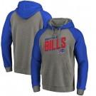 Men's Buffalo Bills Gray Slant Strike Tri Blend Raglan Pullover Hoodie