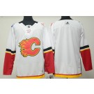 Men's Calgary Flames Customized White Authentic Jersey