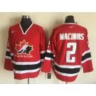 Men's Canada #2 Al MacInnis Red Hockey Jersey