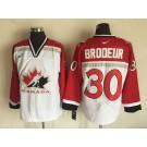 Men's Canada #30 Martin Brodeur White Hockey Jersey