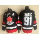 Men's Canada #91 Joe Sakic Black Hockey Jersey