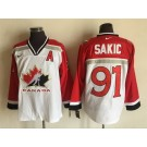 Men's Canada #91 Joe Sakic White Hockey Jersey