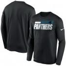 Men's Carolina Panthers Black Sideline Impact Legend Performance Long Sleeves T Shirt 615