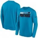 Men's Carolina Panthers Blue Sideline Impact Legend Performance Long Sleeves T Shirt 635