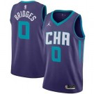 Men's Charlotte Hornets #0 Miles Bridges Purple Statement Icon Hot Press Jersey