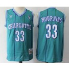 Men's Charlotte Hornets #33 Alonzo Mourning Green 1992 Hardwood Classics Swingman Jersey