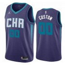 Men's Charlotte Hornets Custom Purple Statement Icon Hot Press Jersey