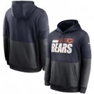Men's Chicago Bears Navy Charcoal Sideline Impact Lockup Performance Pullover Hoodie