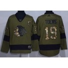 Men's Chicago Blackhawks #19 Jonathan Toews Green Salute To Service Authentic Jersey