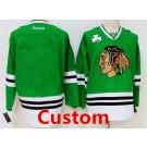 Men's Chicago Blackhawks Customized Green Reebok Jersey