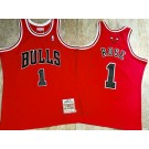 Men's Chicago Bulls #1 Derrick Rose Red 2008 Throwback Authentic Jersey