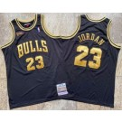 Men's Chicago Bulls #23 Michael Jordan Black Gold 1997 Finals Authentic Jersey