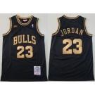 Men's Chicago Bulls #23 Michael Jordan Black Gold 1997 Finals Swingman Jersey