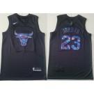 Men's Chicago Bulls #23 Michael Jordan Black Iridescent Holographic Icon Swingman Jersey