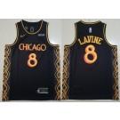 Men's Chicago Bulls #8 Zach Lavine Black 2021 City Icon Sponsor Swingman Jersey