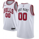 Men's Chicago Bulls Custom White Icon Hot Press Jersey