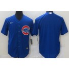 Men's Chicago Cubs Blank Blue Cool Base Jersey