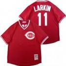 Men's Cincinnati Reds #11 Barry Larkin Red Mesh Throwback Jersey