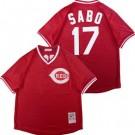 Men's Cincinnati Reds #17 Chris Sabo Red Mesh Throwback Jersey