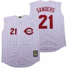 Men's Cincinnati Reds #21 Deion Sanders White Sleeveless Cooperstown Cool Base Jersey