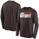 Men's Cleveland Browns Brown Sideline Impact Legend Performance Long Sleeves T Shirt 634