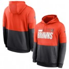 Men's Cleveland Browns Orange Charcoal Sideline Impact Lockup Performance Pullover Hoodie