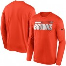Men's Cleveland Browns Orange Sideline Impact Legend Performance Long Sleeves T Shirt 625